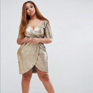 NWT Boohoo Plus Sequin Wrap Dress